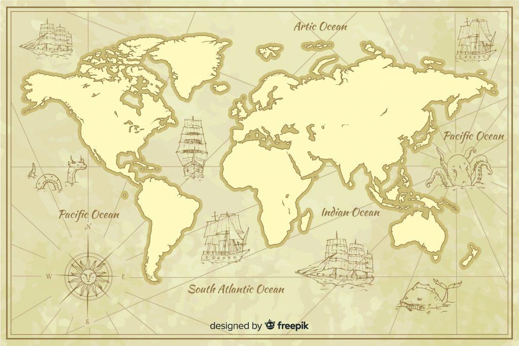 Le lingue più parlate al mondo. Carta geografica del mondo, in stile antico.