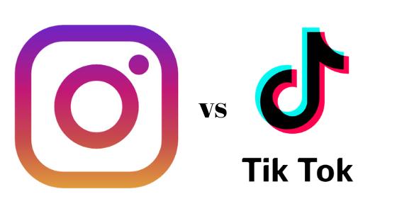 Instagram vs TikTok: loghi dei due social che si scontrano nella battaglia a suon di features.